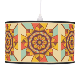 Multicolored geometric flourish hanging pendant lamp