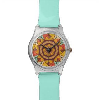 Multicolored geometric flourish watch