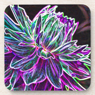 Multicolored Glowing Edge Dahlia Products Beverage Coaster