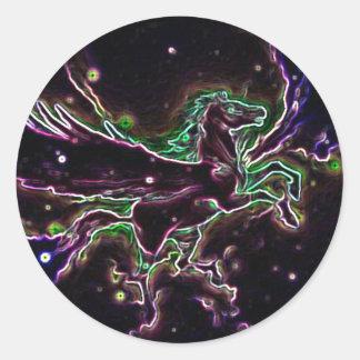Multicolored graphic design pegusas classic round sticker