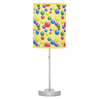 Multicolored Gumballs on Yellow Table Lamps
