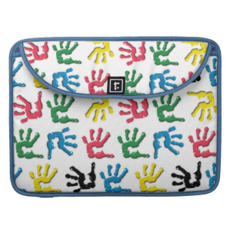 Multicolored handprints pattern sleeves for MacBook pro