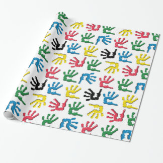 Multicolored handprints pattern wrapping paper