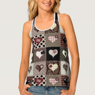 Multicolored Hearts Patchwork Squares Tank Top