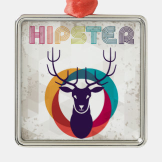 Multicolored Hipster Deer Gear Ornament