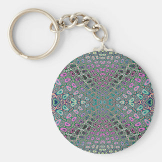 Multicolored Hologram Butterfly Fractal Abstract Basic Round Button Keychain