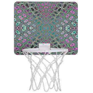 Multicolored Hologram Butterfly Fractal Abstract Mini Basketball Hoop