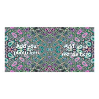 Multicolored Hologram Butterfly Fractal Abstract Photo Card Template