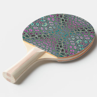 Multicolored Hologram Butterfly Fractal Abstract Ping-Pong Paddle