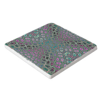 Multicolored Hologram Butterfly Fractal Abstract Trivet