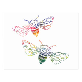 Multicolored Honeybee Doodles Postcard