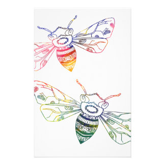 Multicolored Honeybee Doodles Stationery