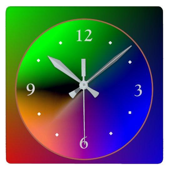 Multicolored Illuminated Design>Colourful Wall Square Wall Clock