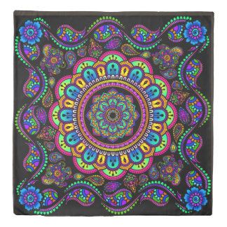 multicolored indian inspired mandala and boarder duvet cover