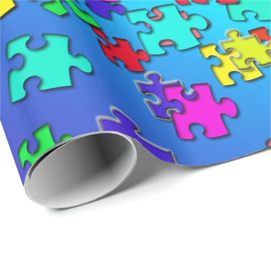 Multicolored jigsaw puzzles pieces