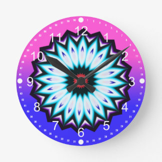 Multicolored Kaleidoscope w/Pink and Blue Gradient Wallclocks