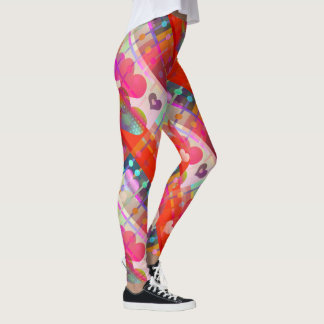 Multicolored Love Hearts Pattern Leggings