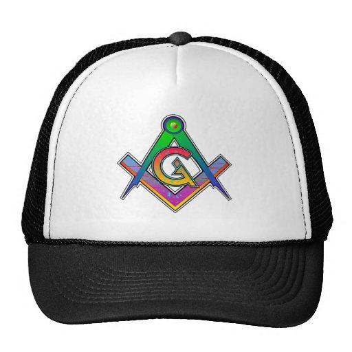 Multicolored Masonic Square & Compass Mesh Hat