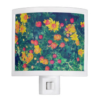 Multicolored meadow whimsical wild daisy flowers nite light