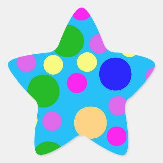 Multicolored Modern Dots blue cyan pink purple Star Sticker