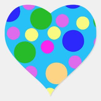 Multicolored Modern Dots blue cyan pink purple Heart Stickers