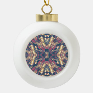 Multicolored Modern Geometric Ceramic Ball Christmas Ornament