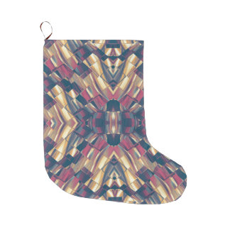 Multicolored Modern Geometric Large Christmas Stocking