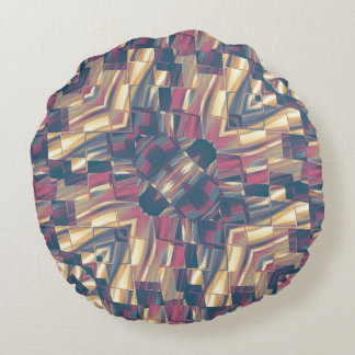 Multicolored Modern Geometric Round Pillow