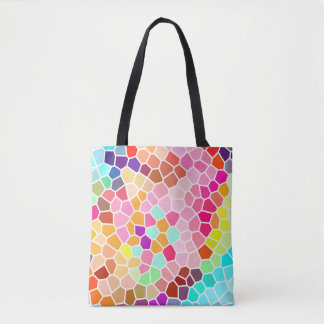 Multicolored Mosaic Style Geometric Pattern Tote Bag