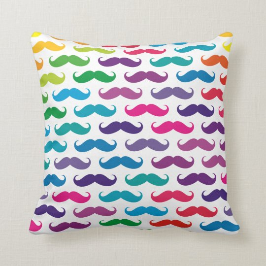 Multicolored Moustache Patterned Pillows