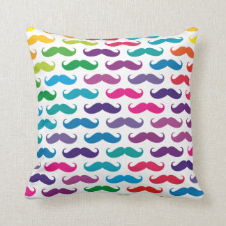 Multicolored Mustache Patterned Pillows