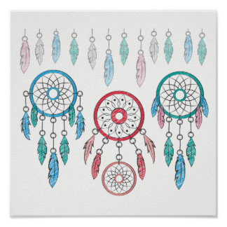 Multicolored Pastel Feather & Dream Catcher Poster