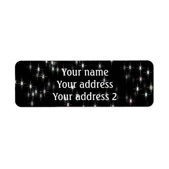 Multicolored pastel stars / black background return address label