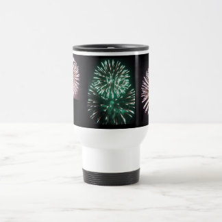 MULTICOLORED PATRIOTIC FIREWORKS TRAVEL MUG