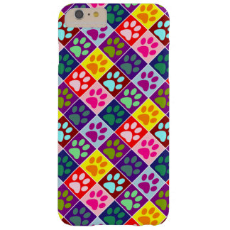 Multicolored Paws in Multicolored Squares Barely There iPhone 6 Plus Case