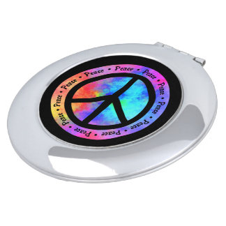 Multicolored Peace Sign Travel Mirror