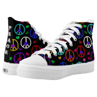 Multicolored Peace Signs High Tops
