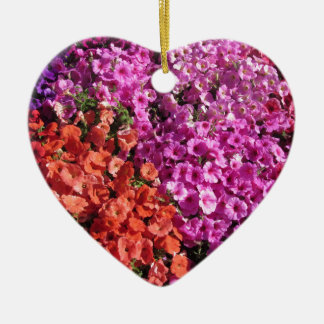 Multicolored petunia flowers texture background ceramic ornament