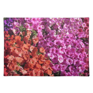 Multicolored petunia flowers texture background placemat