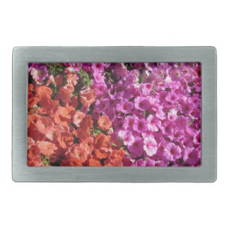 Multicolored petunia flowers texture background rectangular belt buckle