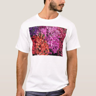 Multicolored petunia flowers texture background T-Shirt