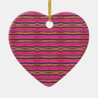 Multicolored Pink Orange Pattern Folk Art Mexico Ceramic Heart Ornament