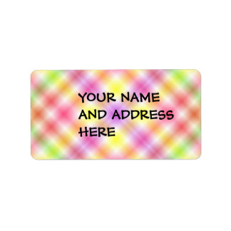 Multicolored Plaid Background Address Label