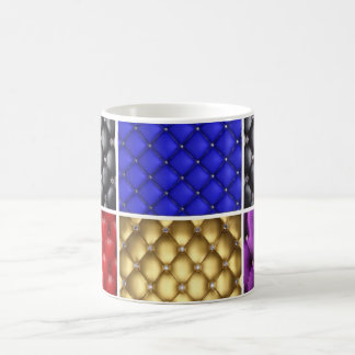 Multicolored  Pleated Leather & Bling Collage Coffee Mug