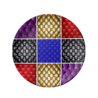 Multicolored  Pleated Leather & Bling Collage Plate