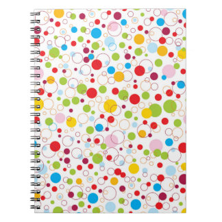 Multicolored points and circles spiral notebook