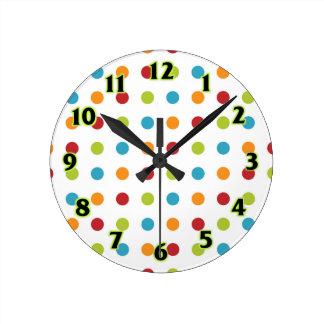 Multicolored Polka Dots Round Clock