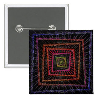 Multicolored psychedelic squares 2 inch square button