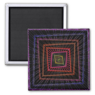 Multicolored psychedelic squares fridge magnet