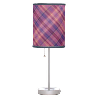 Multicolored purple and red shades tartan table lamps